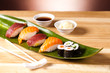 sushi set with rolls and salomon