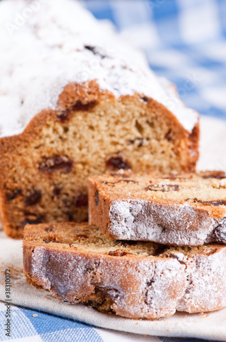 Close up slices of raisin cake