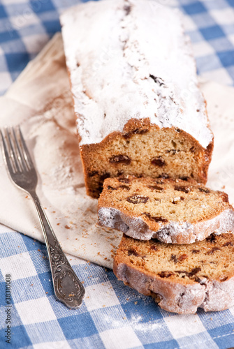 Home made raisin cake on blue napkin
