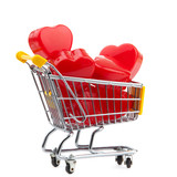 closeup of a shopping cart with  heart