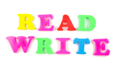 read and write written in fridge magnets