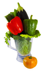 vegetables in a blender