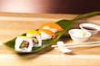 sushi rolls on a leaf