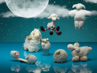 funny toy sheeps playing different games, night