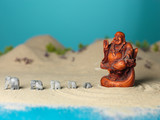 fat buddha and stone elephants miniature landscape