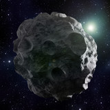 Asteroid covered with craters