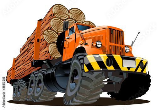 Keuken foto achterwand Cartoon cars Vector cartoon logging truck