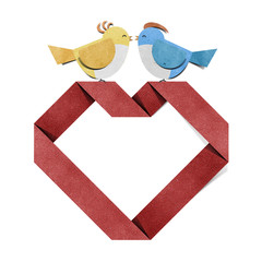 red heart and bird recycled papercraft