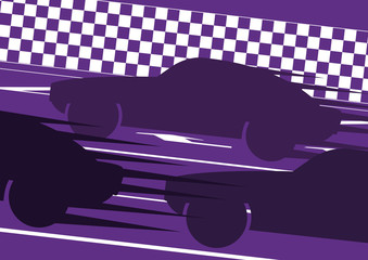 Sport cars silhouettes in race track landscape background