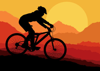 Mountain bike bicycle riders in wild nature landscape