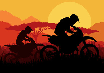Motorbike riders motorcycle silhouettes in wild landscape