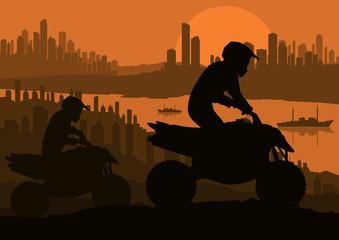 All terrain vehicle motorbike riders in skyscraper city
