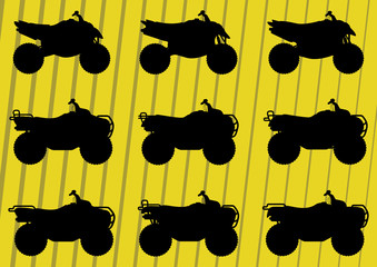 All terrain vehicle quad motorbikes illustration collection