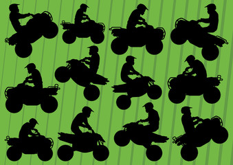 All terrain vehicle quad motorbikes riders illustration