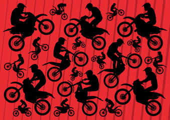 Motocross and trial motorbikes riders illustration collection