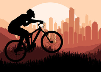 Mountain bike rider in skyscraper city landscape