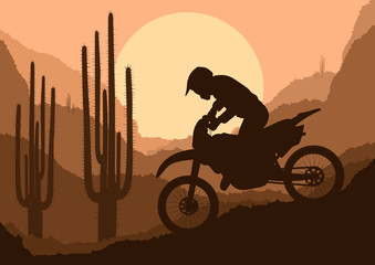 Motorbike rider in wild nature landscape background illustration