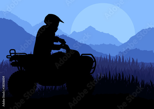All terrain vehicle quad motorbike riders in wild nature