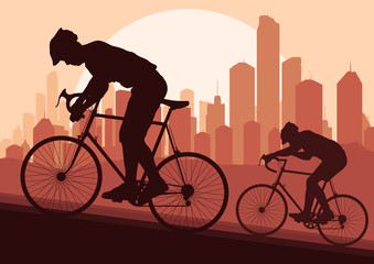 Sport bicycle riders in skyscraper city