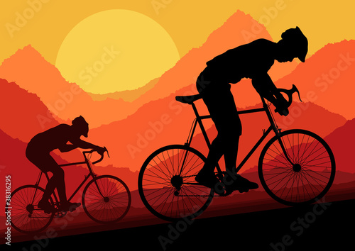 Mountain bike riders in wild nature background