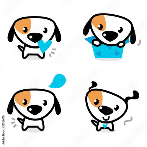 Cute blue valentine dogs set isolated on white