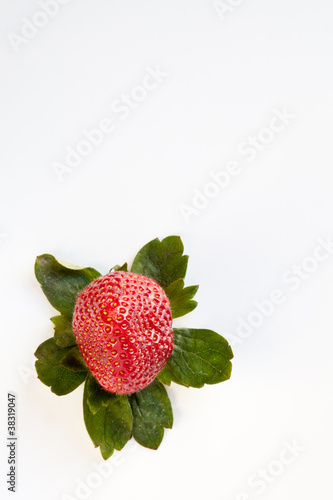 Strawberry from Above with Green Leaves