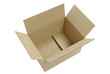 Caja de cartón abierta vista aérea, recortada