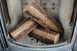 Hard wood briquettes in stove