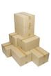 Cajas de cartón apiladas, recortada