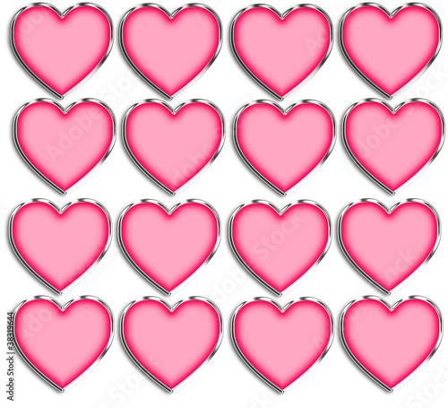 Pink & Chrome Heart Shapes