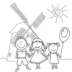 happy kids and wind mill