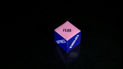 Emotions, concept cube, purple and blue