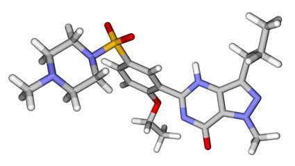 Viagra (sildenafil) sticks molecular model