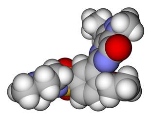 Viagra (sildenafil) space filling molecular model