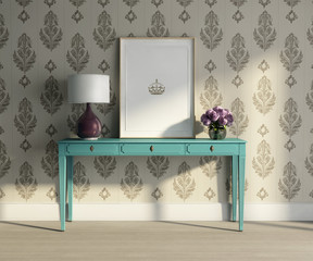 Vintage turqoise table, stylish interior baroque wallpaper