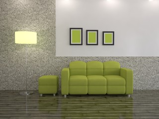 Interior with a sofa and and a floor lamp