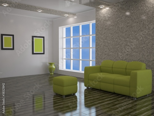 Interior with a green sofa