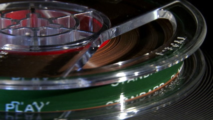 Magnetic tape, reel, closeup.