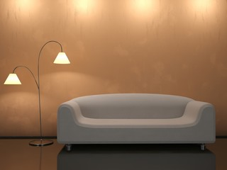 Interior with a sofa and a floor lamp