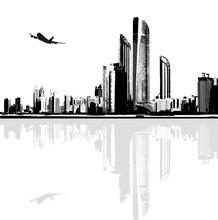 Czarno-białe panorama miasta budynków