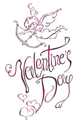 Valentine's Day type text. Cupid.
