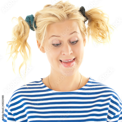Woman with a funny look on her face smiles