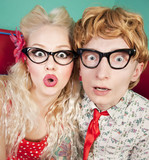 Funny surprised couple