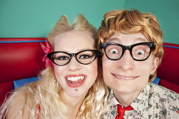 Funny nerdy couple