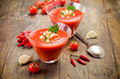 Gazpacho on wooden table