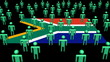 South Africa flag with many abstract people animation
