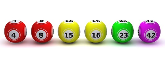3d render of a set of coloured bingo balls