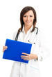 Happy smiling doctor with folder, over white