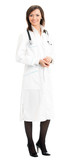 Full body of female doctor, over white