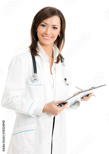 Happy smiling female doctor with clipboard, isolated